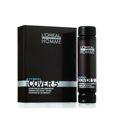L'Oréal professionnel Homme Cover 5 3x50ml 4 Kleur: bruin. Mannelijke kleurbehandeling zonder ammoniak voor grijs of wit haar -