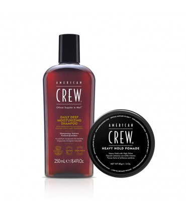 American Crew Daily Deep Moisturising Shampoo & Heavy Hold Pomade Duo pour Homme - 1